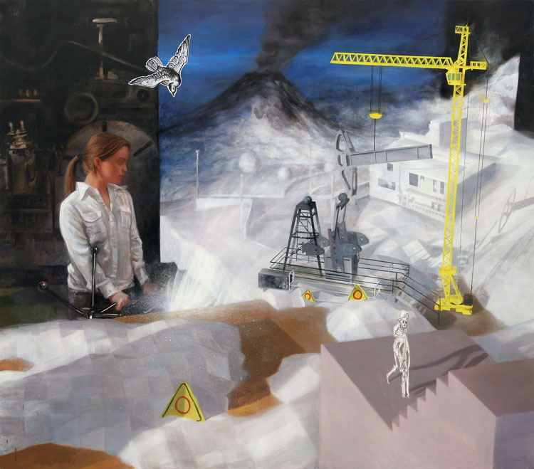Construction site, painting by Kristoffer Zetterstrand